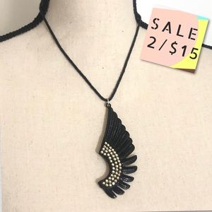 Handmade Gold & Black Bohemian Bird Wing Necklace